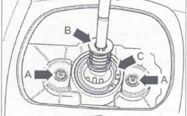 Снятие и установка тяг механизма переключения передач на МКП 0А2 на VW Passat B5 GP