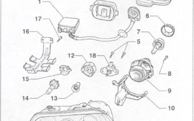 Замена фары головного света (с газоразрядными лампами) VW Passat B5