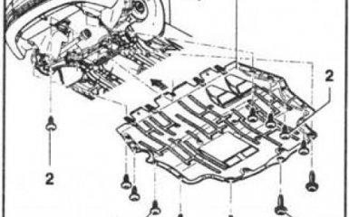 Снятие и установка защиты картера двигателя VW Passat B6