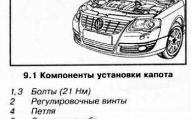 Снятие, установка и регулировка капота на VW Passat B6