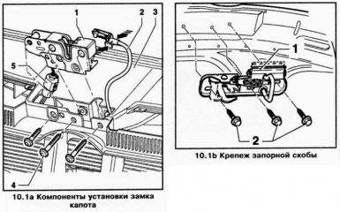 Замена и регулировка замка капота и запорной скобы VW Passat B6