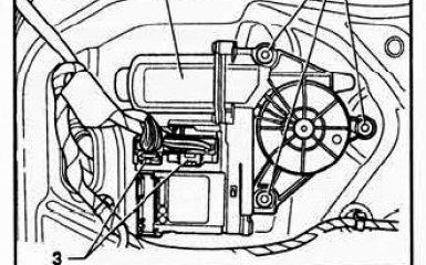 Снятие и установка э/мотора стеклоподъемника VW Passat B6