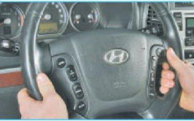 Снятие руля Hyundai Santa Fe 2 (CM), 2006 - 2012