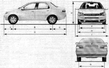 Габаритные размеры Fiat Albea с 2005 гг.