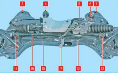 Снятие передней поперечины Hyundai Solaris (RB), 2010 - 2017 г.в.